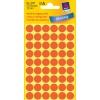 Etikety Avery kruhové 12 mm, neónovo červené